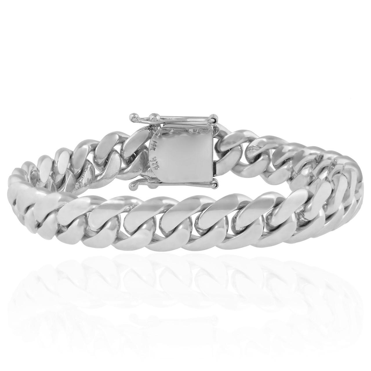 fe6c8cf0428 14K White Gold Cuban Link Bracelet 16mm - Shyne Jewelers