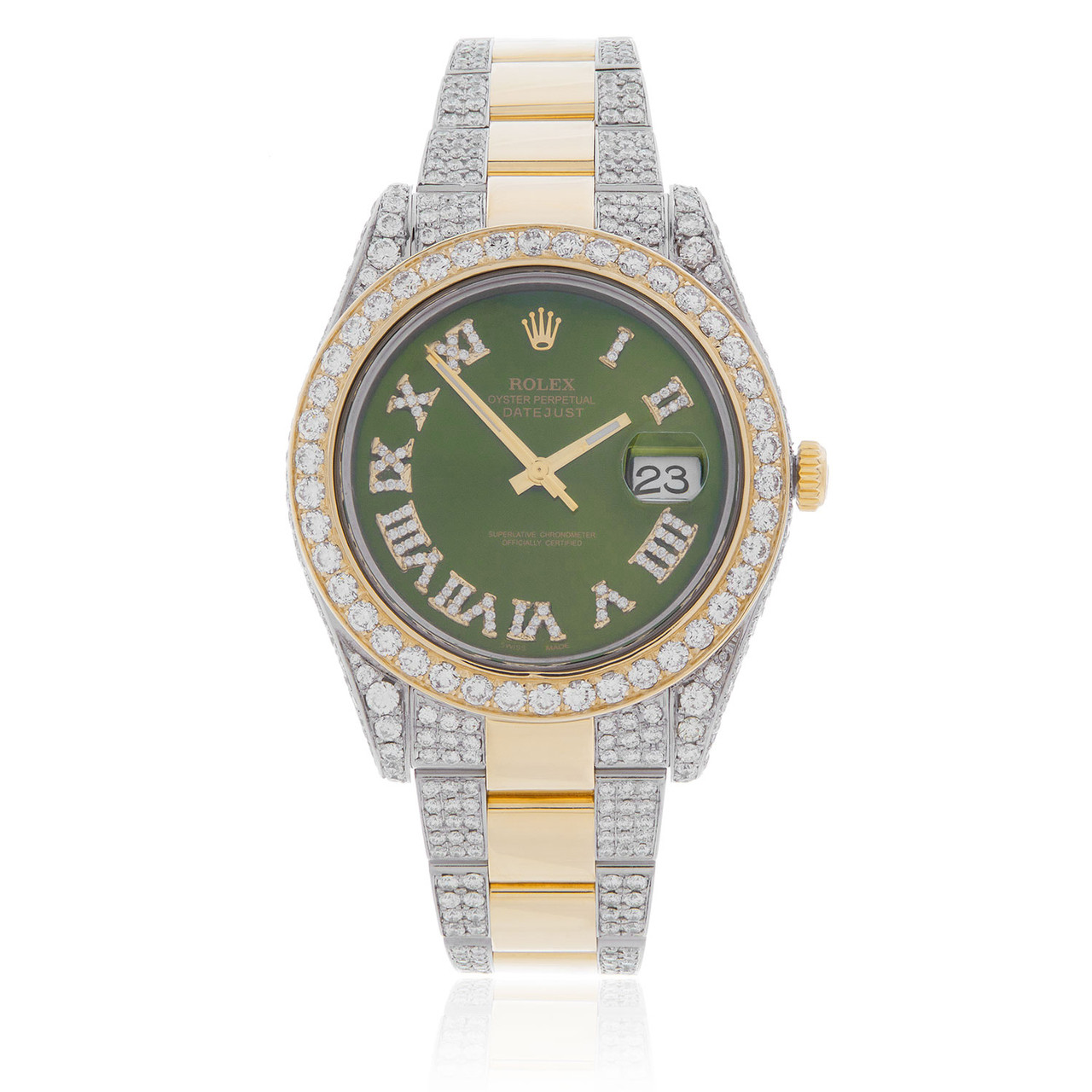 Rolex DateJust II 18k Yellow Gold 17ct Diamond Green Face Automatic Men\u0027s  Watch
