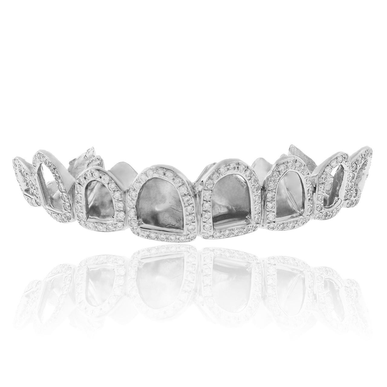 10k White Gold 1.5ct Diamond Top 8 Window Grill - Shyne Jewelers 0740e35661