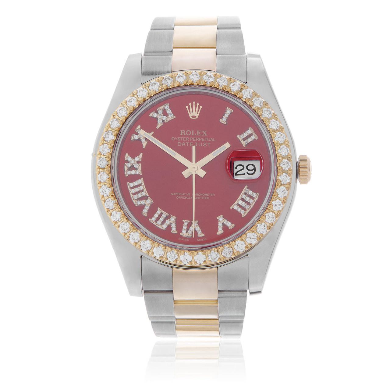Rolex DateJust II 18k Yellow Gold 3.25ct Diamond Bezel Red Dial Automatic  Men\u0027s Watch
