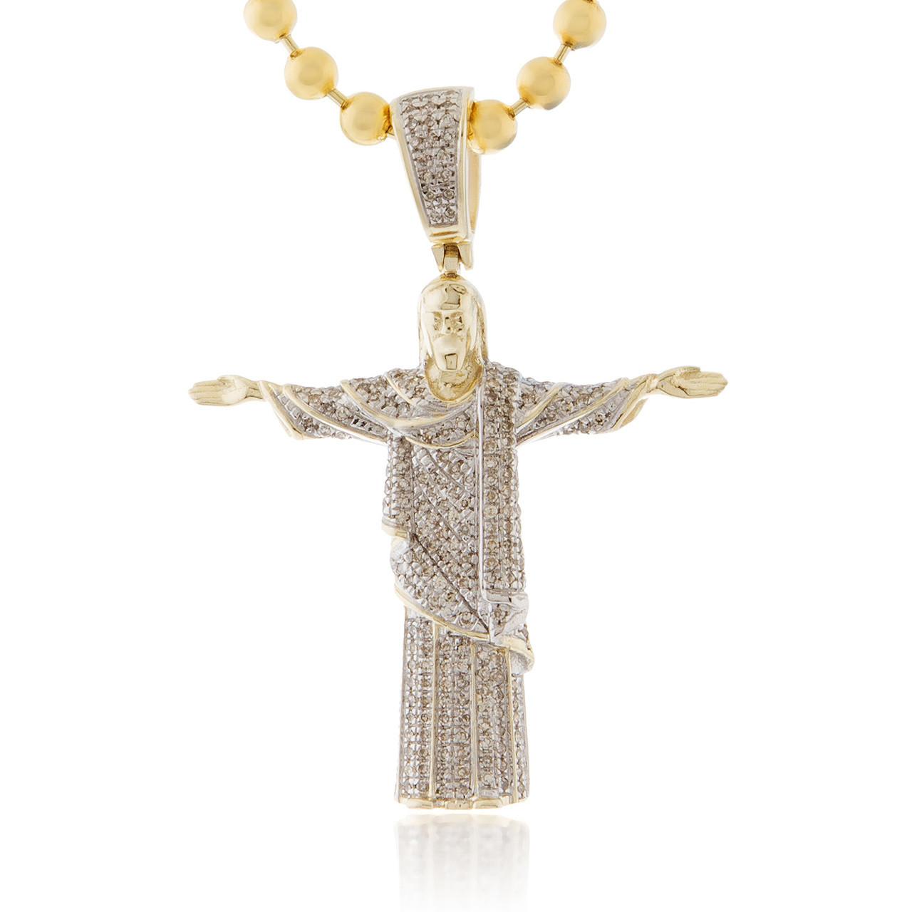 10k Yellow Gold .5ct Diamond Jesus Pendant - Shyne Jewelers f079125e57