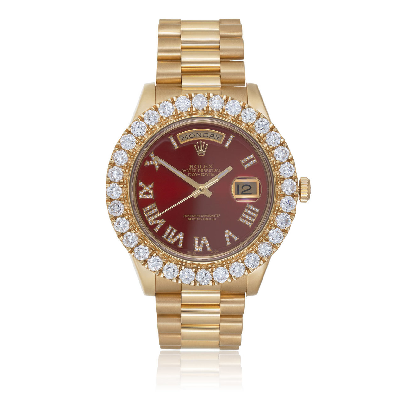Rolex Day Date Ii President 6ct Diamond Bezel Automatic Watch