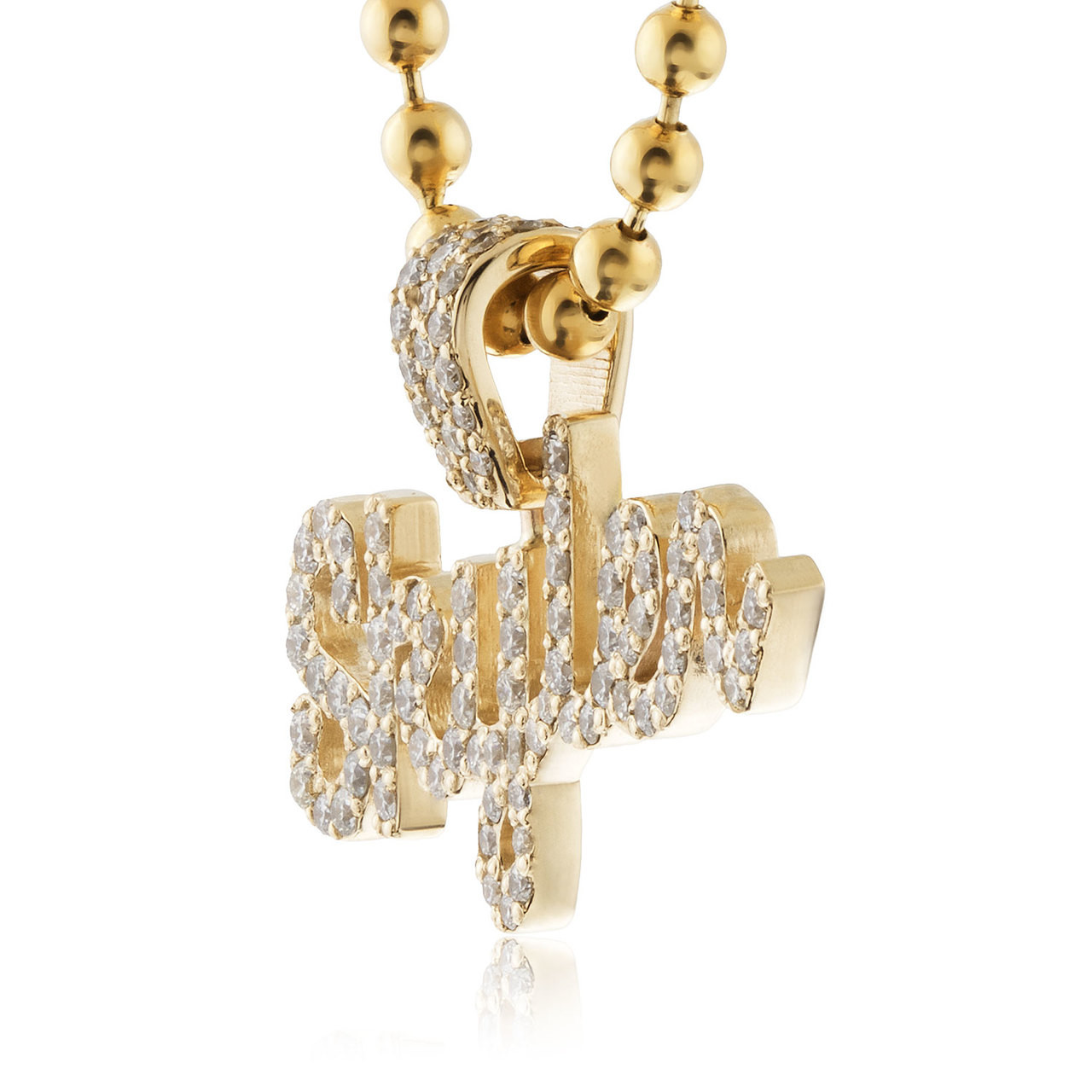 255ab0ffaf42b7 Home · Women's Jewelry · 14k Yellow Gold Custom Diamond 'Skyler' Name  Pendant. Previous