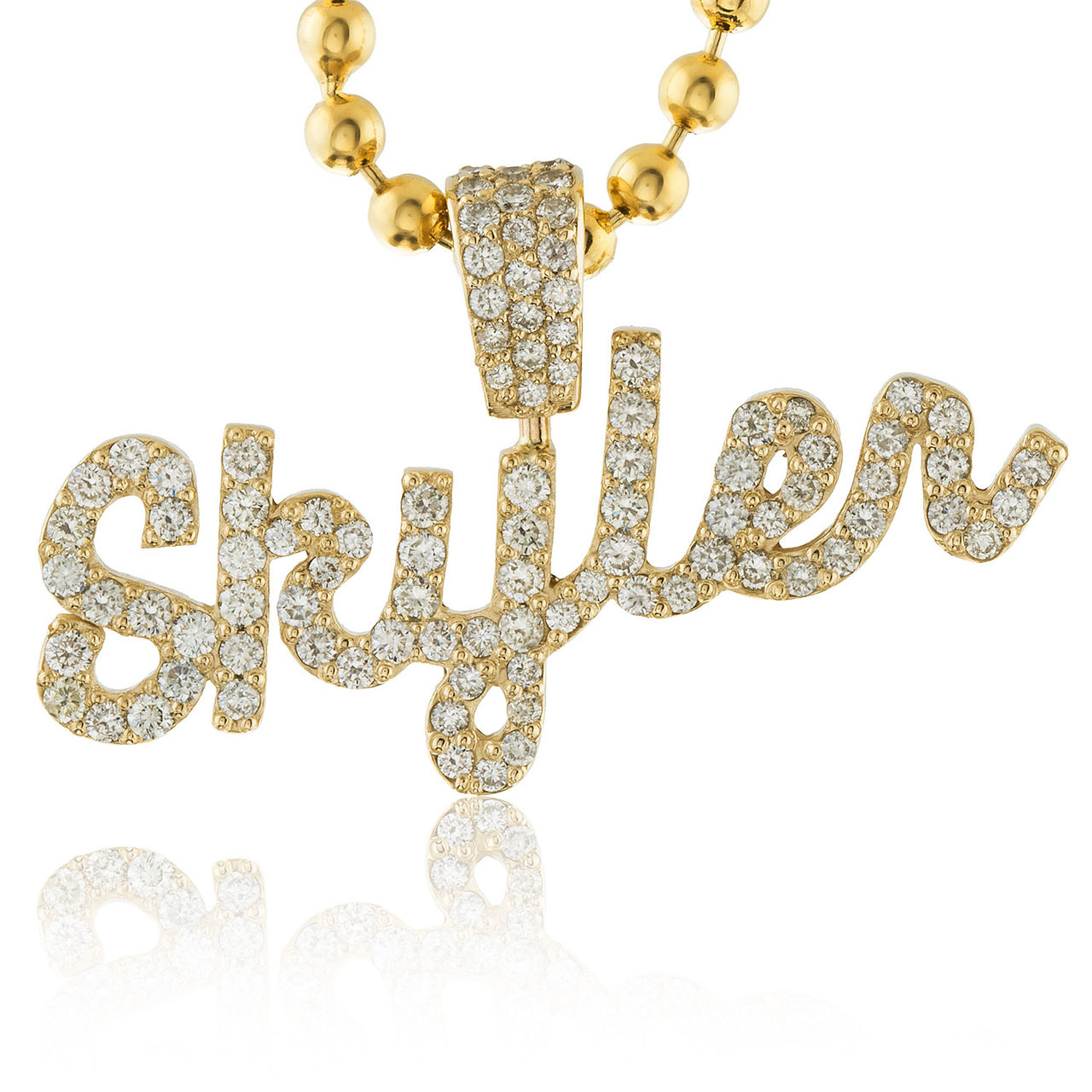 eb7b492af5175e 14k Yellow Gold Custom Diamond 'Skyler' Name Pendant - Shyne Jewelers