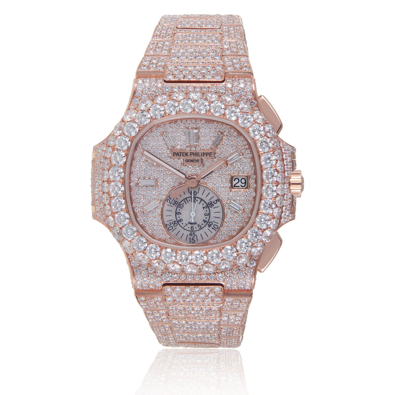 Patek Philippe Rose Gold Nautilus 5980 Custom Diamond Men S Watch