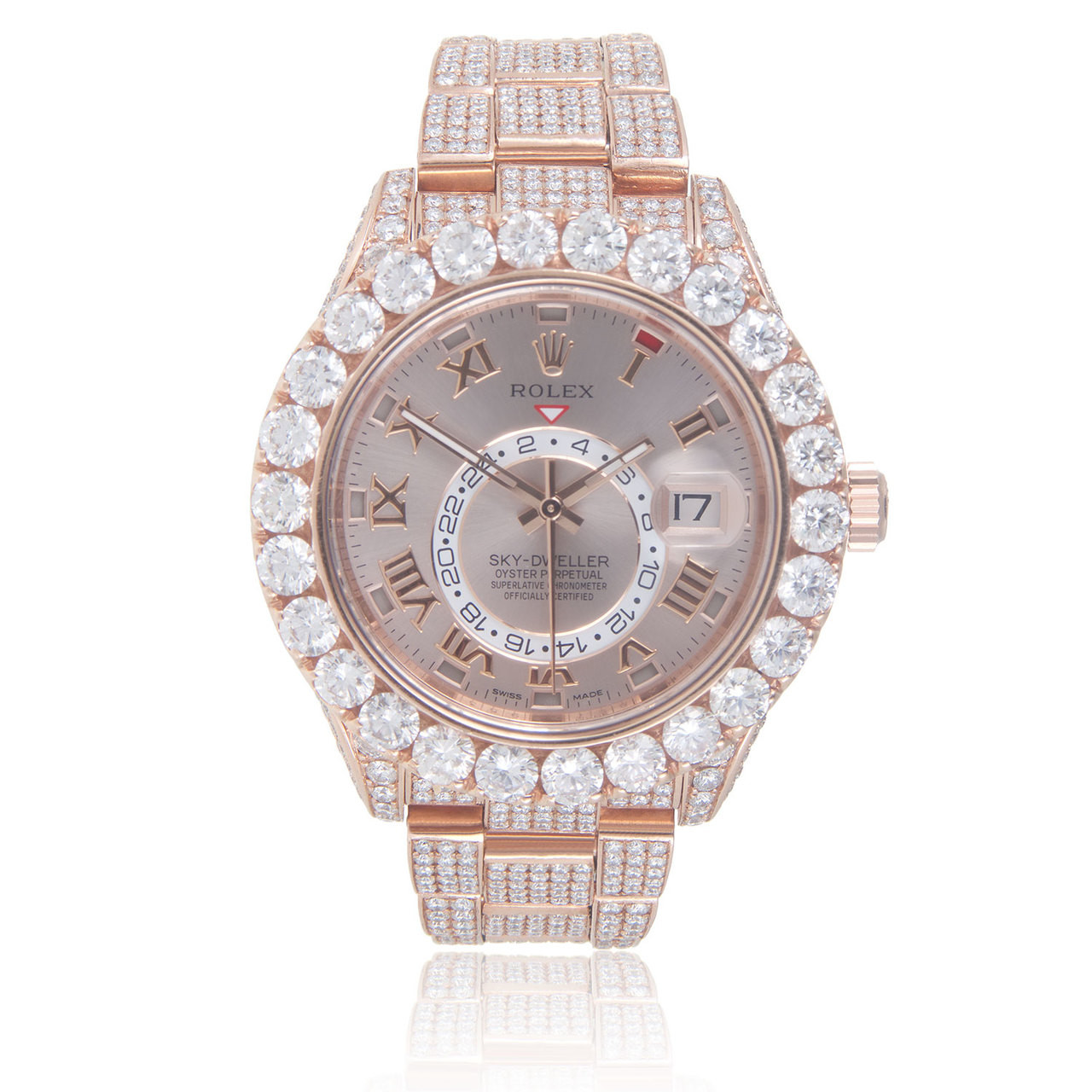 Rolex Sky,Dweller 18k Rose Gold 34ct Diamond Automatic Men\u0027s Watch