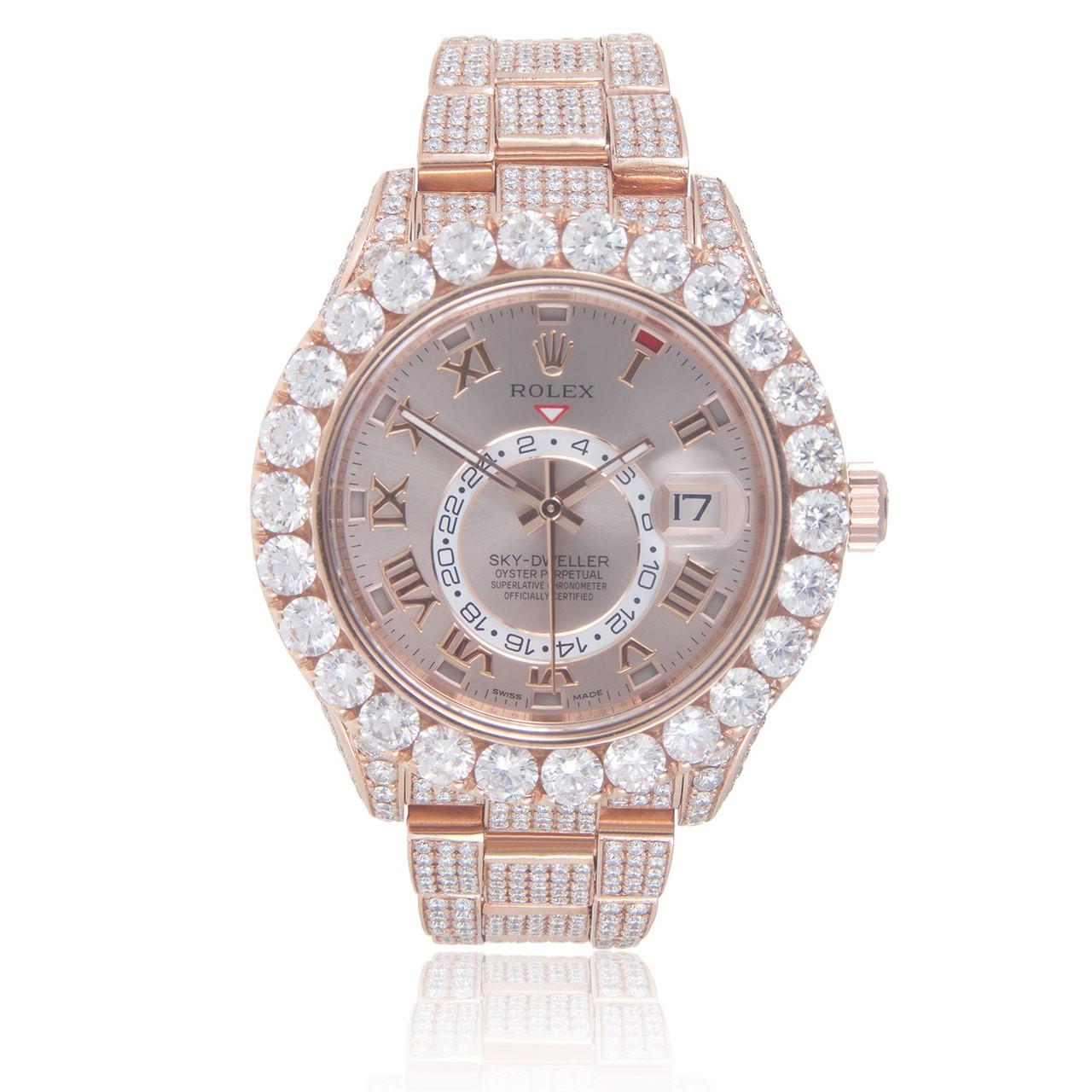 Rolex Sky,Dweller 18k Rose Gold 34ct Diamond Automatic Men\u0027s Watch