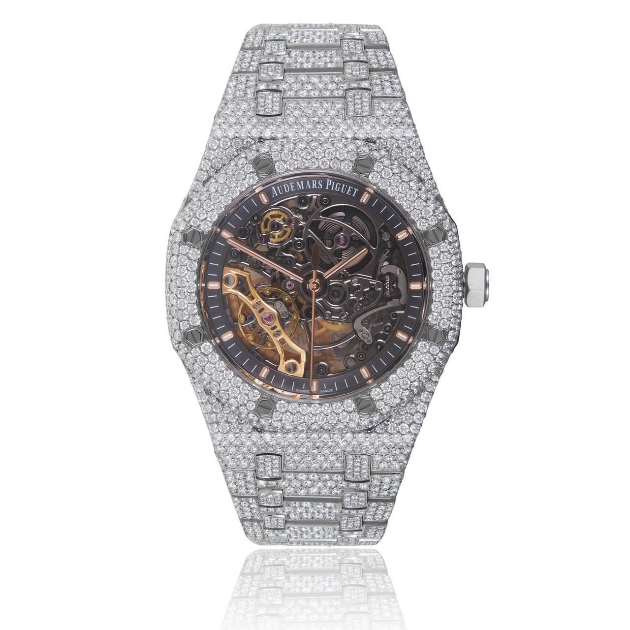 Audemars Piguet Skeleton Dial Royal Oak 28ct Diamond Watch - Shyne Jewelers 9771fd8bf