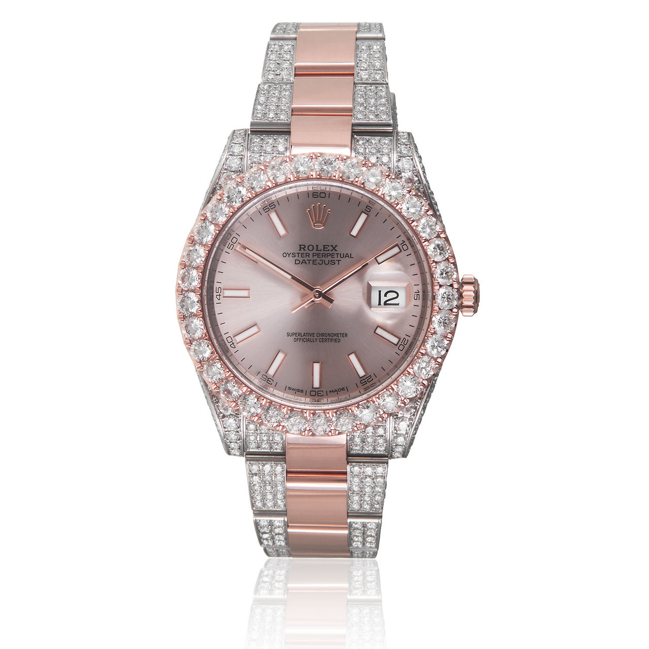 Rolex Two,Tone DateJust 41mm 17ct Diamond Bezel Automatic Men\u0027s Watch