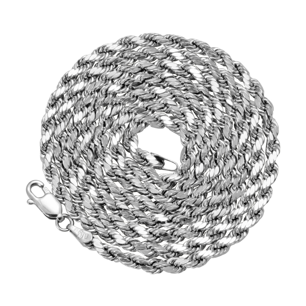 0ee43945b06cb 10k White Gold 3mm Hollow Rope Chain 26in