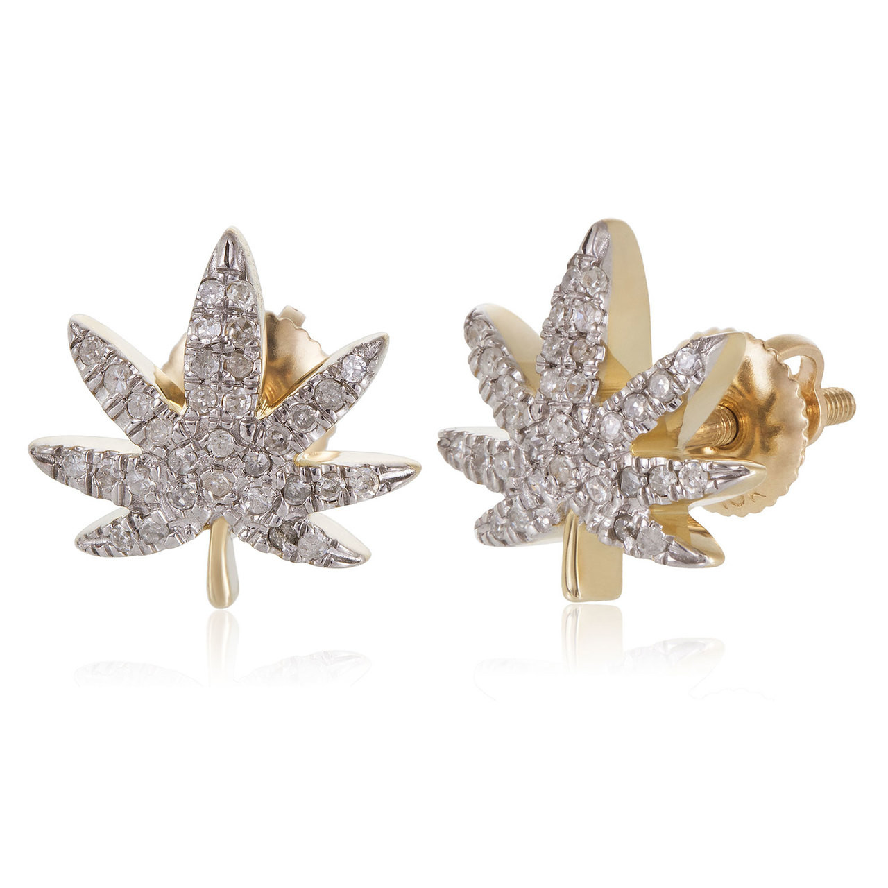 6bed43044131e 10k Yellow Gold .25ct Diamond Hemp Leaf Stud Earrings