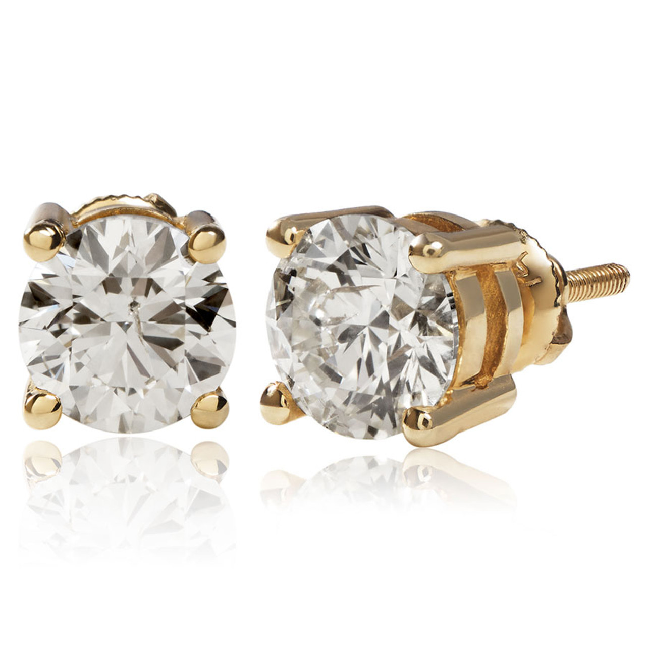 8a66651e004fc 14k Yellow Gold 2.00ct Diamond Solitaire Stud Earrings