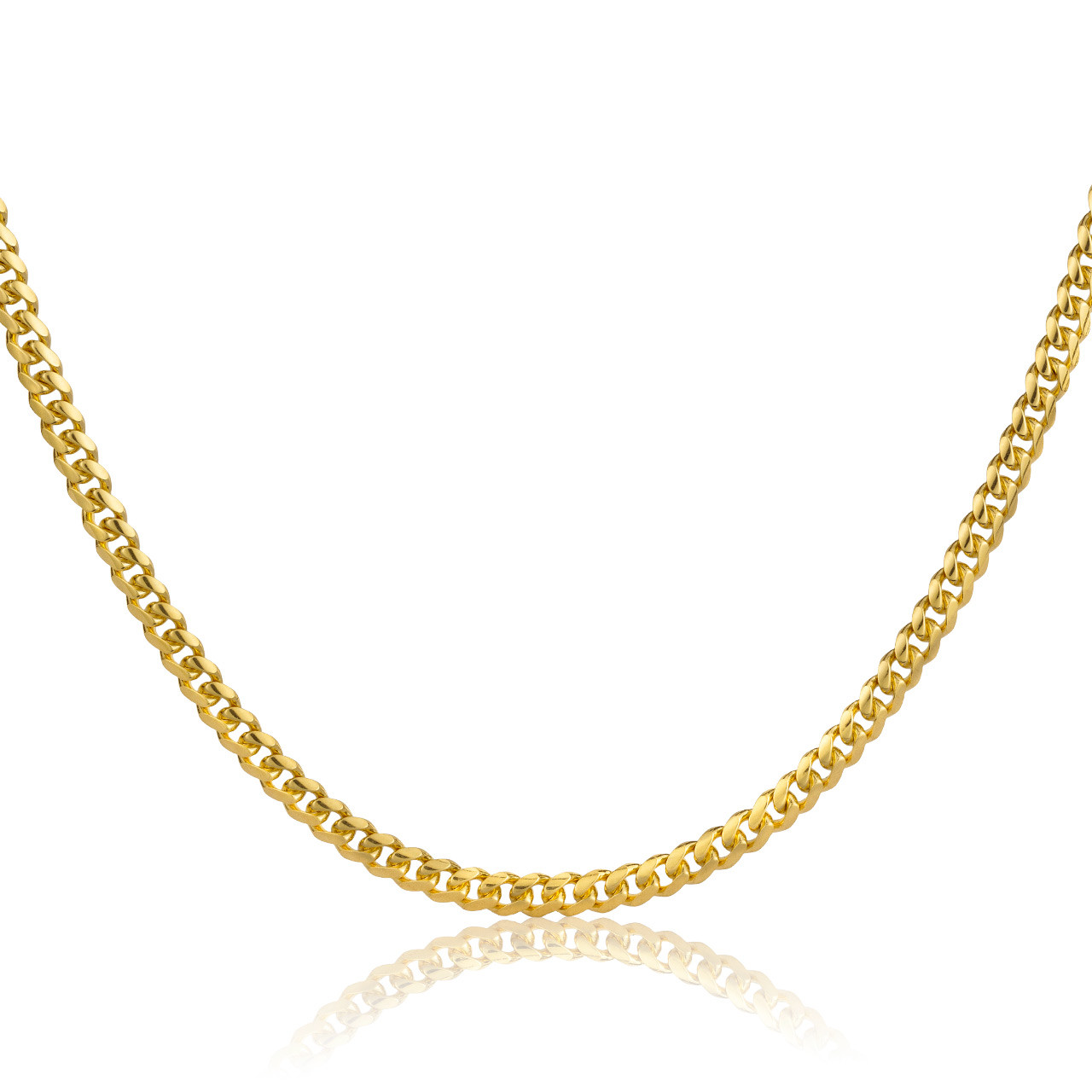 """30/"""" Length MIAMI CUBAN LINK CHAIN 18/"""" Width 10K SOLID YELLOW GOLD 2.5mm"""