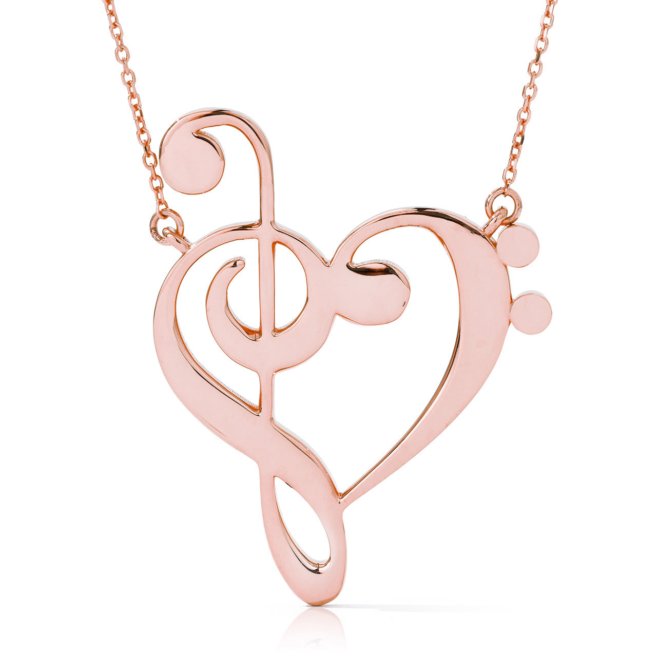 Fine 14k Yellow Gold Music Note Pendant Bass Clef Necklace