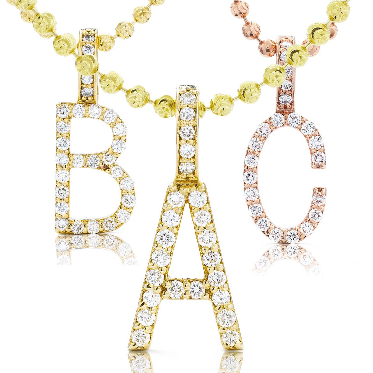1476345d87886 10k Gold Diamond Initial Letter Pendant 0.30ct
