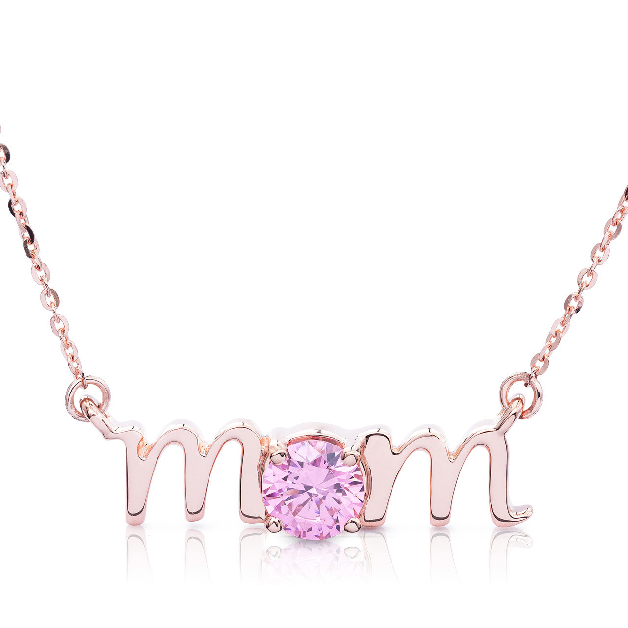 c2054b93c 14k Rose Gold Lowercase Mom Birthstone Statement Necklace - Shyne Jewelers