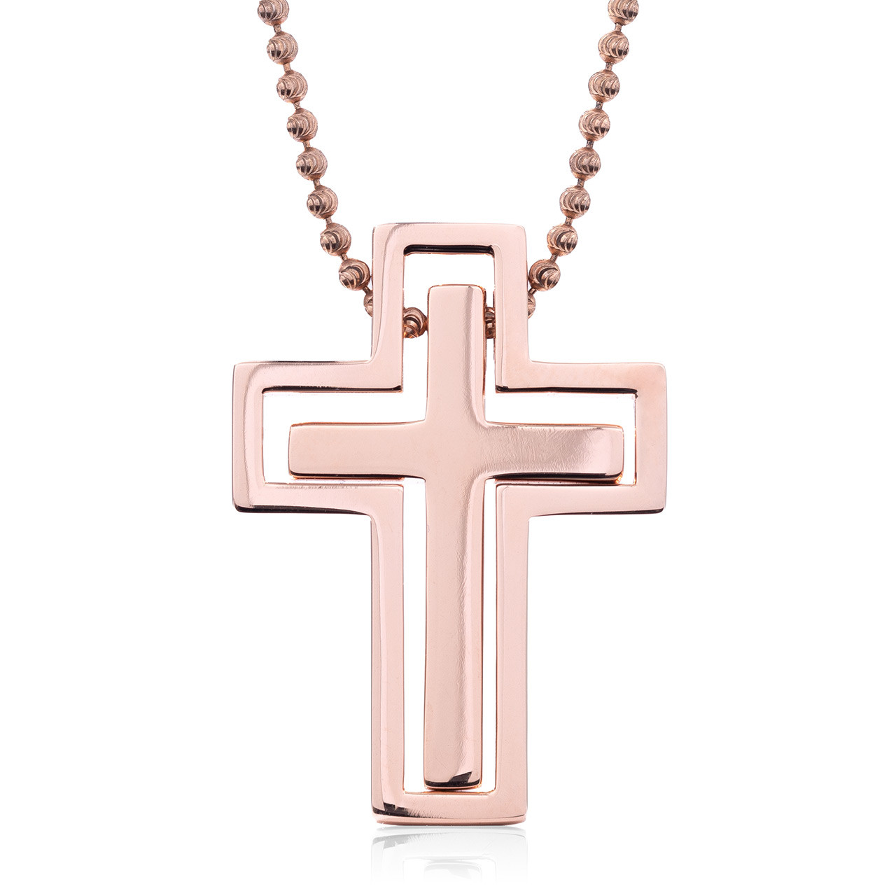 Small Solid 10k Rose Gold Cross Pendant Necklace