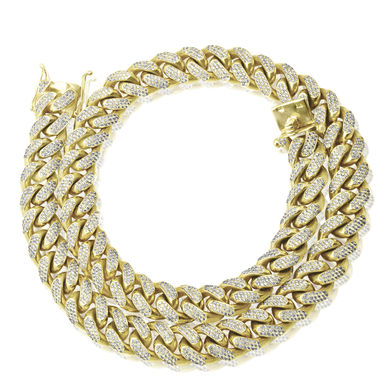 10k Gold Cuban Link Chain >> 10k Yellow Gold Xl 47ct Diamond Miami Cuban Link Chain 32in Shyne