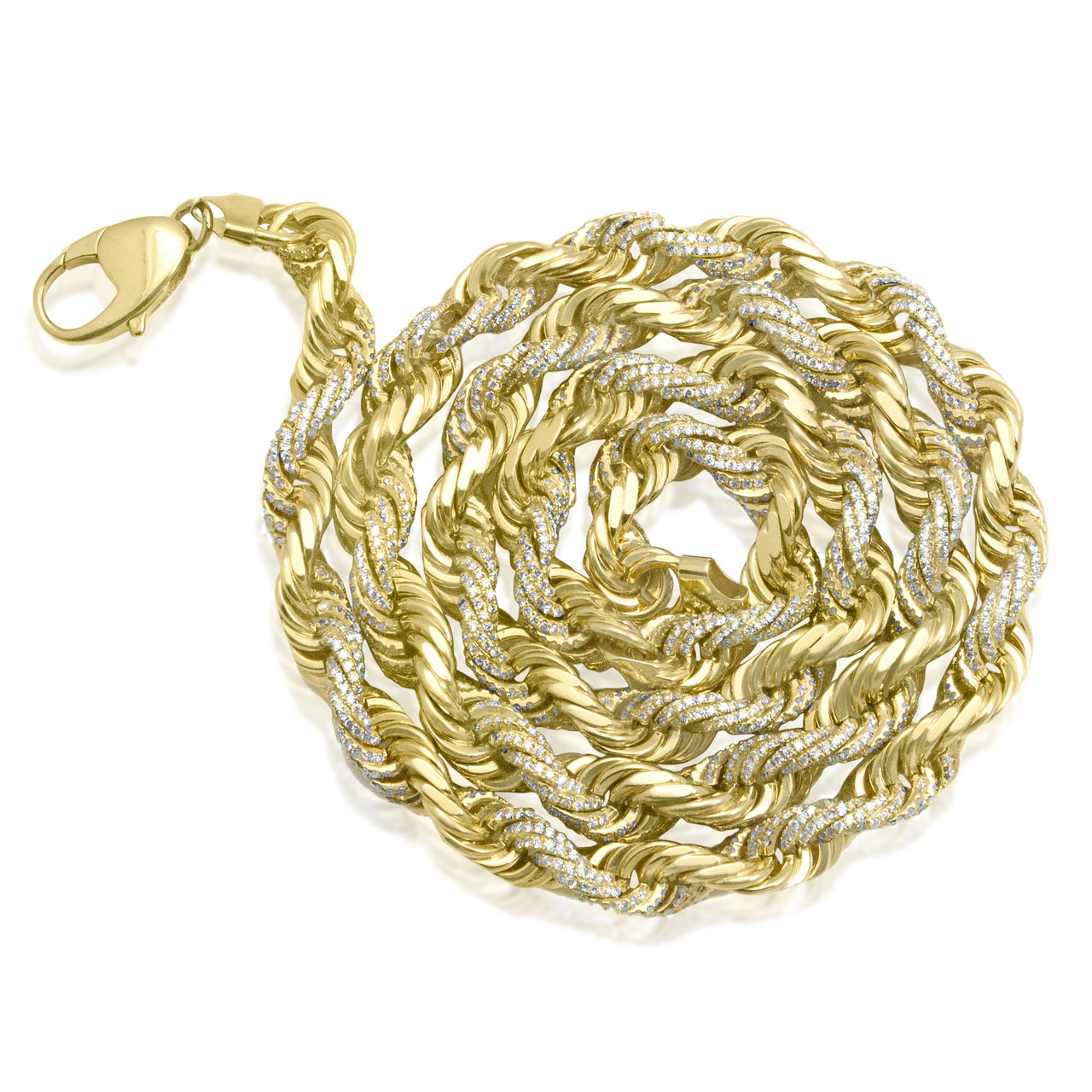 911a087673f15 10k Yellow Gold Diamond Rope Chain 27in