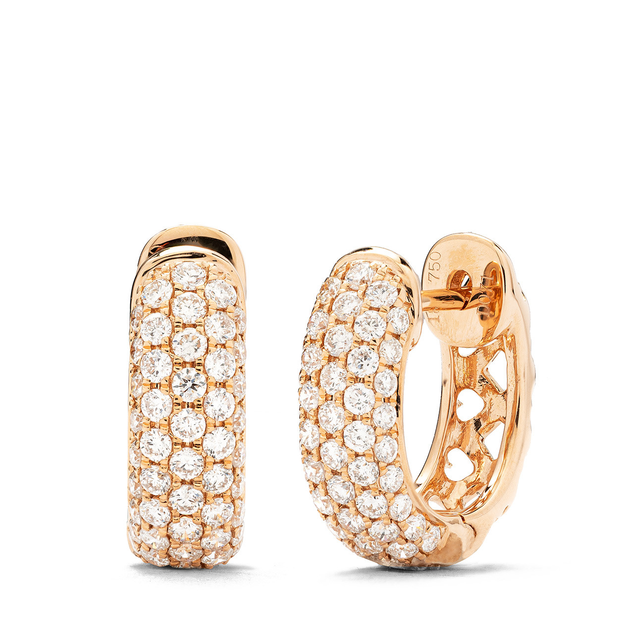 18k Rose Gold Diamond Hoop Earrings 71 Ctw Shyne Jewelers