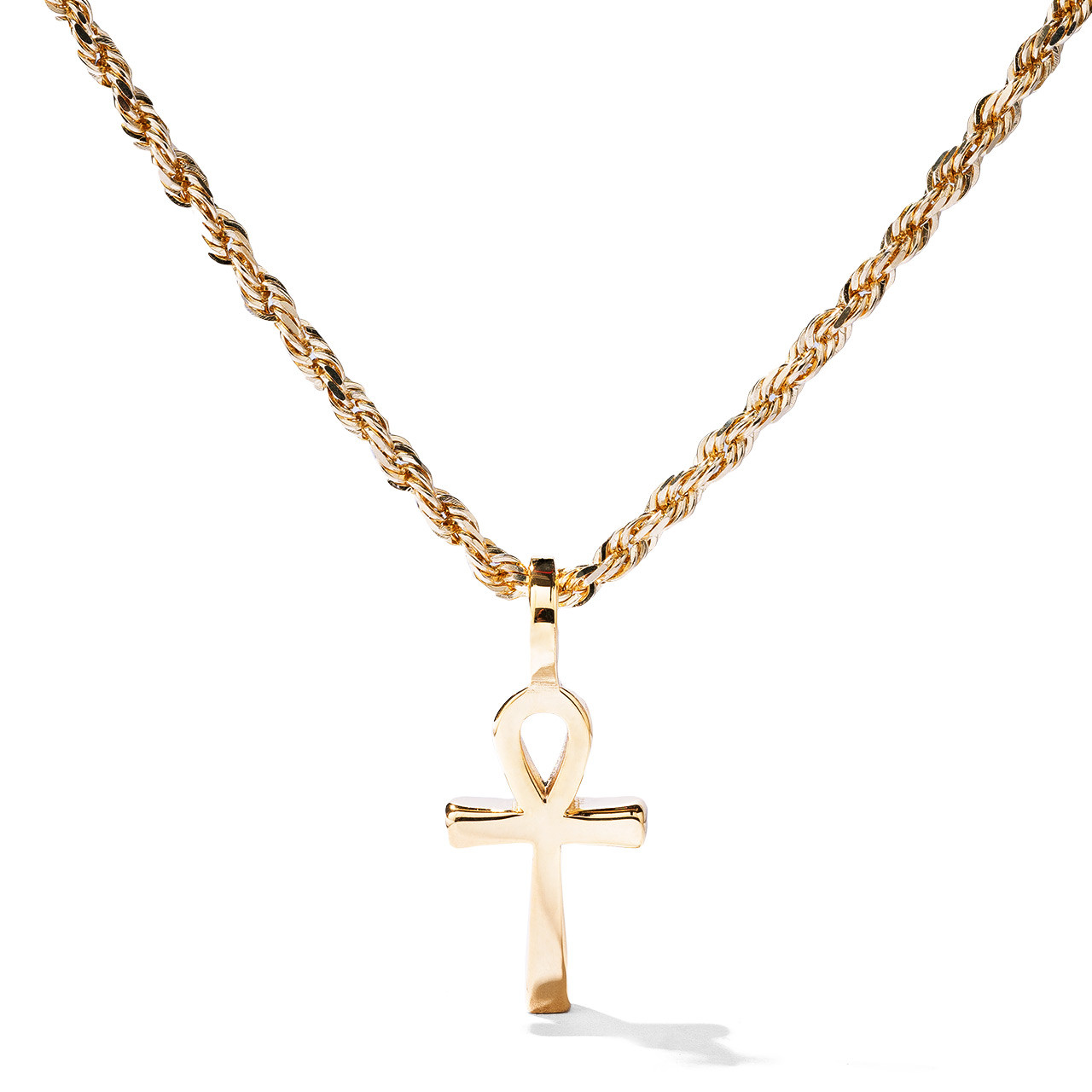 Solid 14k White Gold Ankh Cross Charm Necklace
