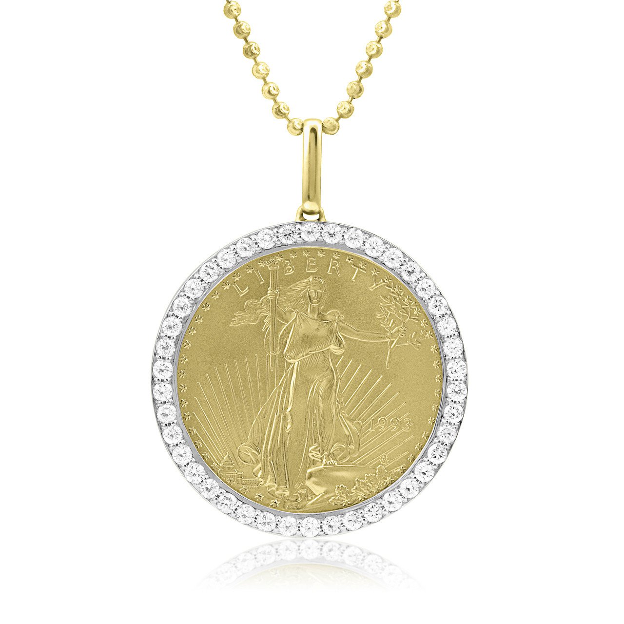 b2a27cd4459a2 10k Yellow Gold 2.07ct Diamond Pure Coin Pendant