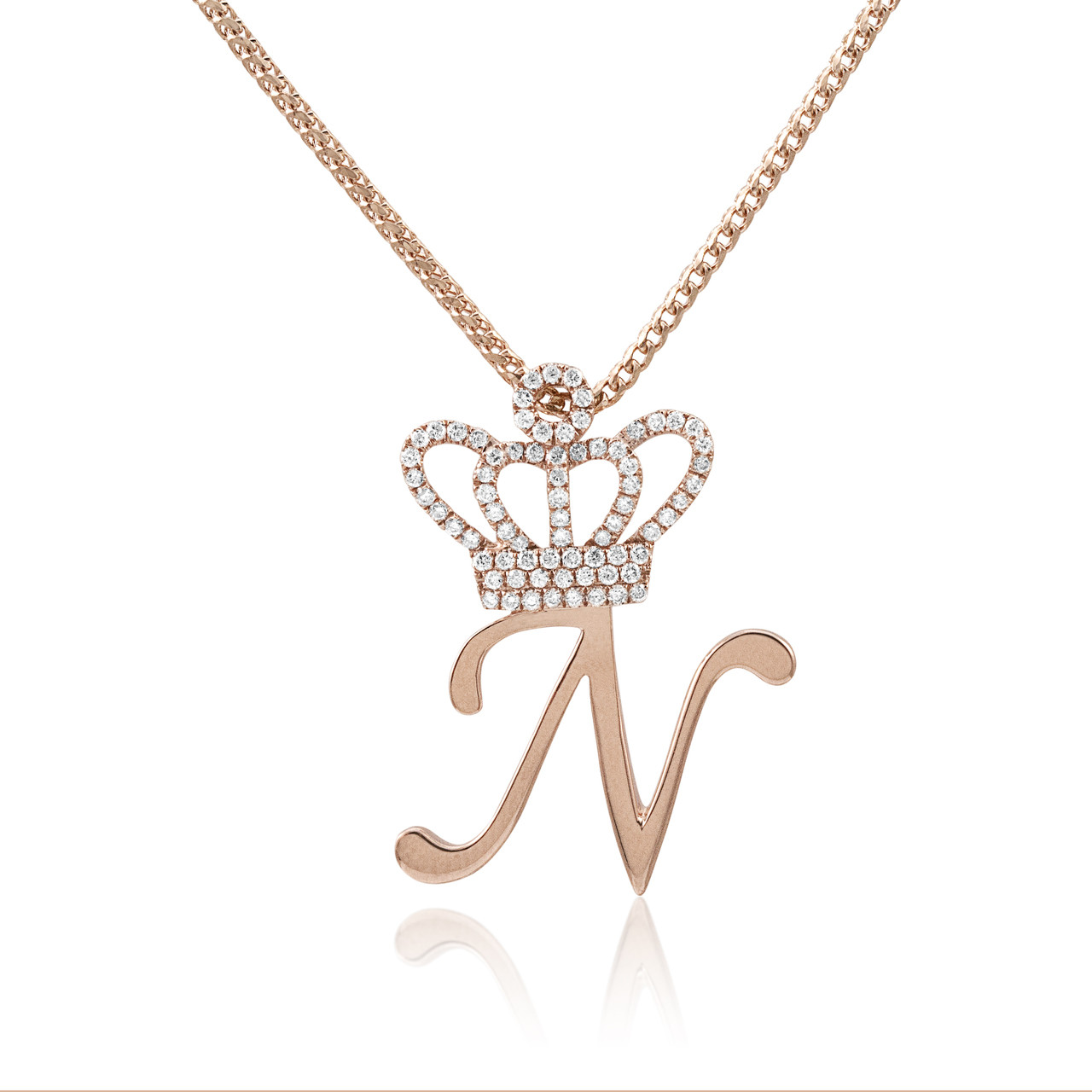 14k Rose Gold .75ct Diamond Crown Initial Pendant - Shyne Jewelers 2c646ab48