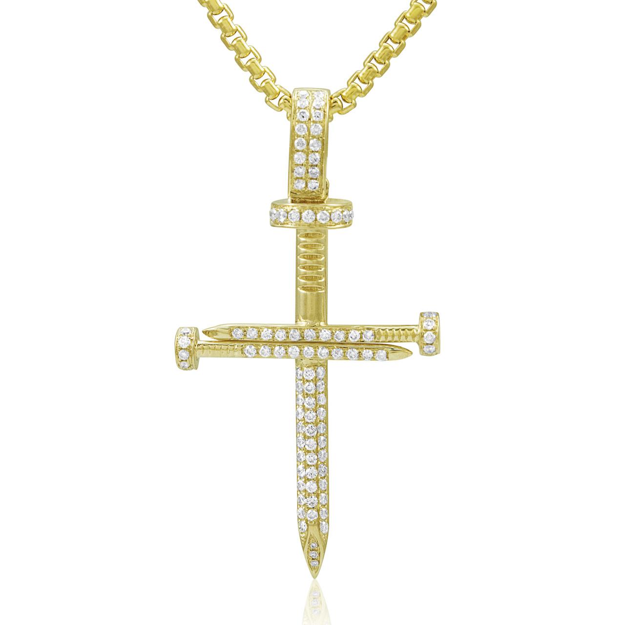 27400cede06eaf 14k Yellow Gold .77ct Diamond Nail Cross Pendant - Shyne Jewelers