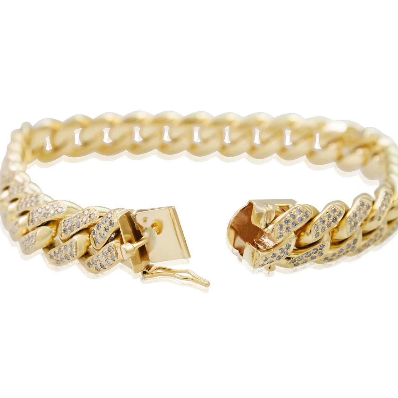0432676aa8e36 10k Yellow Gold 8.5ct Diamond Miami Cuban Link Bracelet