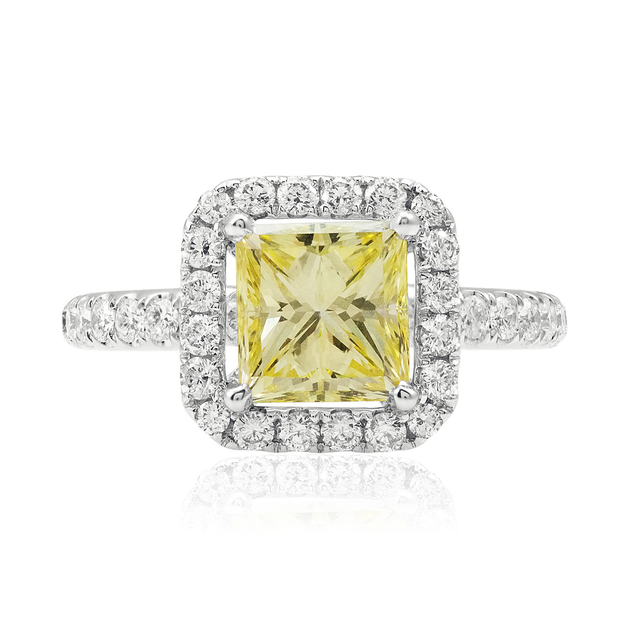 5a700fe3c5 18k White Gold 3.06ct Canary Yellow Princess Cut Diamond Ring - Shyne  Jewelers