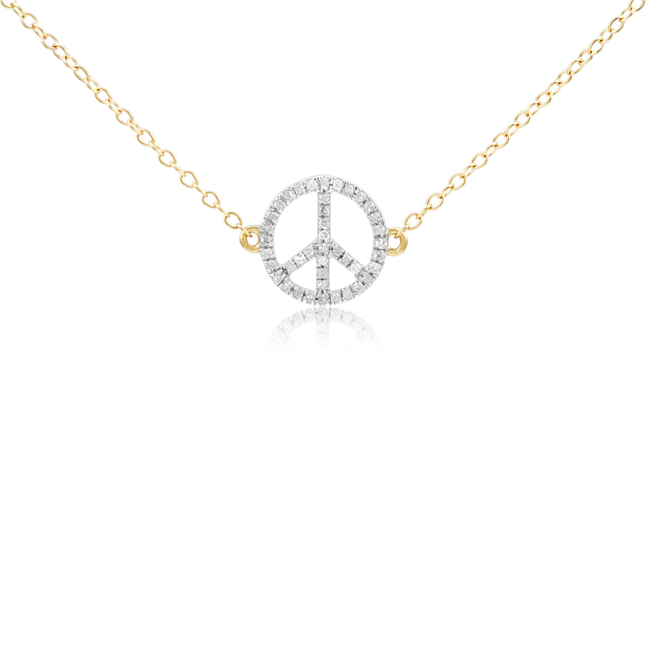 d2ff67fb5a65 14k Yellow Gold .10ct Diamond Peace Sign Pendant - Shyne Jewelers