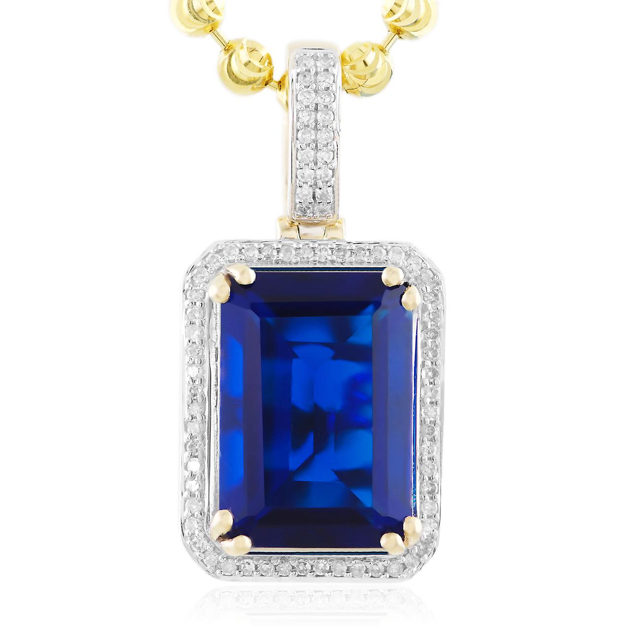 2e8d147ef91 Men's 10k Yellow Gold .25ct Diamond Blue Sapphire Pendant - Shyne  Jewelers.com