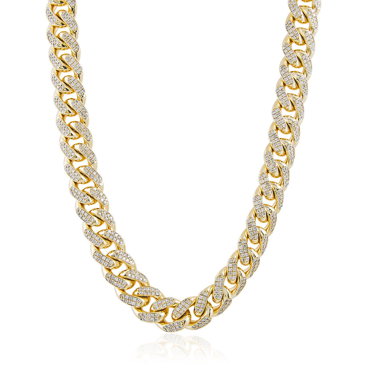 Cuban Link Chain For Sale >> 14k Yellow Gold 26ct Diamond Cuban Link Chain 36in Shyne Jewelers