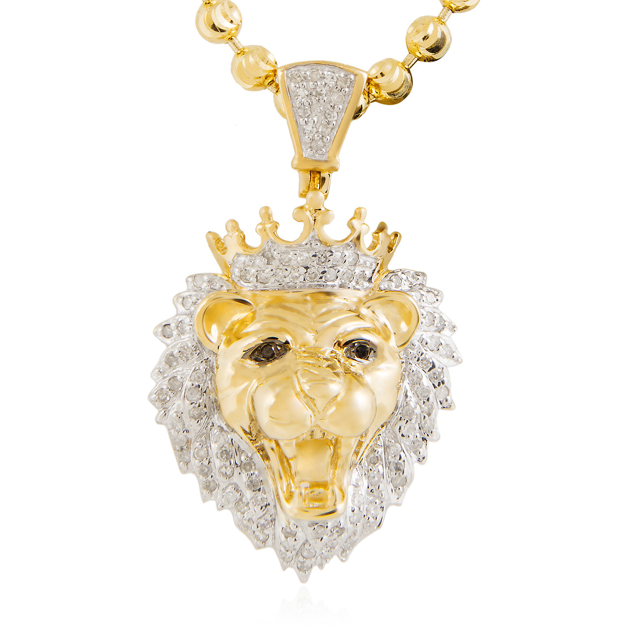 10k Yellow Gold .36ct Lions Head Pendant - Shyne Jewelers 0a58e138e7