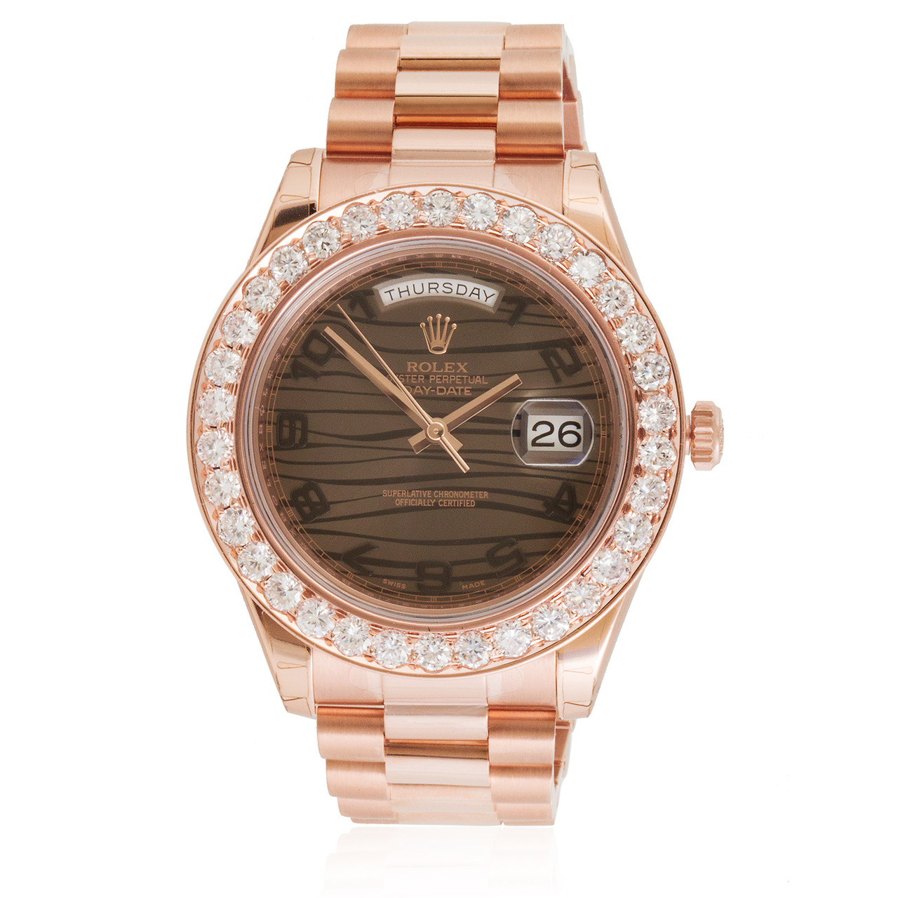 Rolex Day Date Ii 18k Rose Gold President 475ct Diamond Automatic Mens Watch