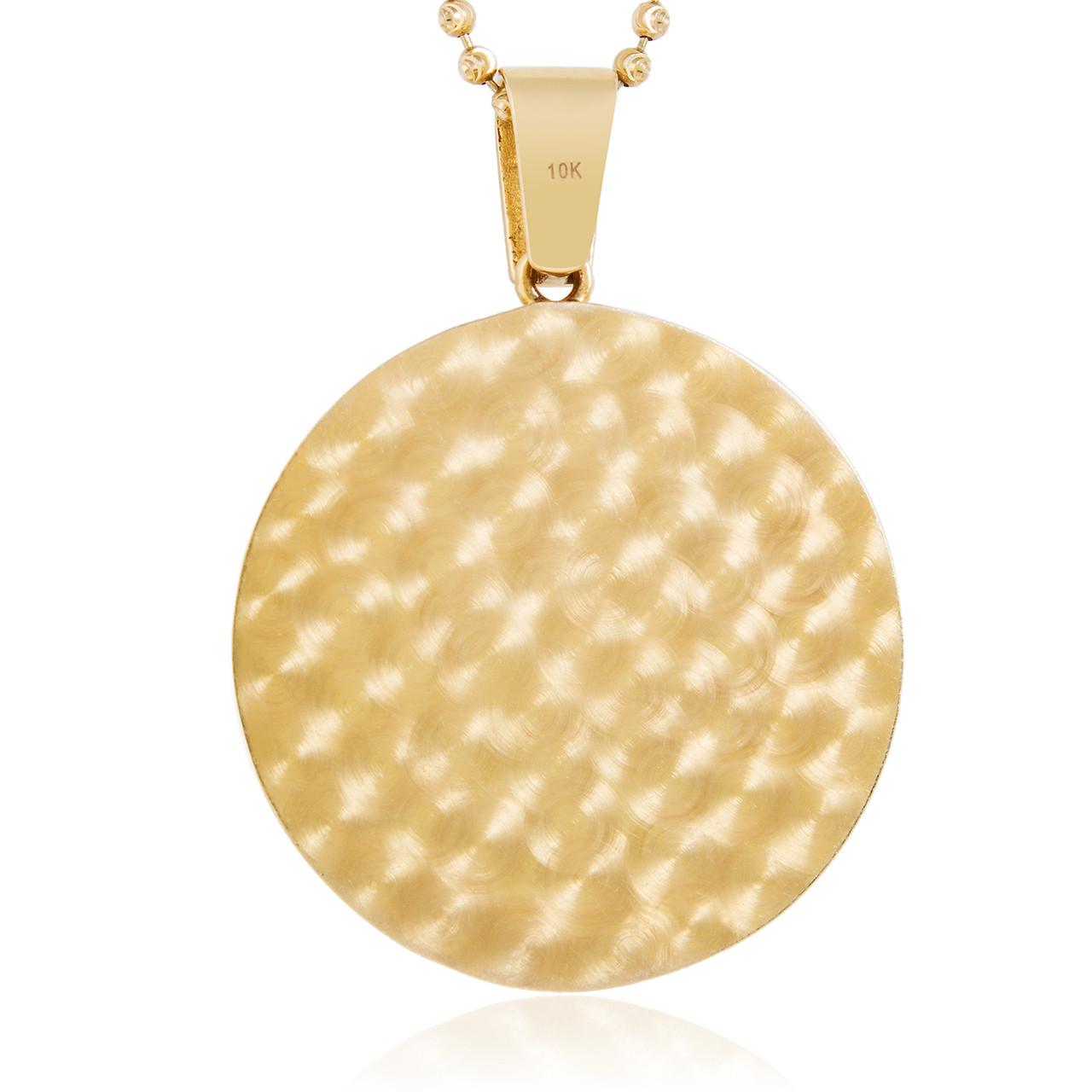 14k Yellow Gold 3.25ct Large Round Jesus Pendant - Shyne Jewelers c229be7124
