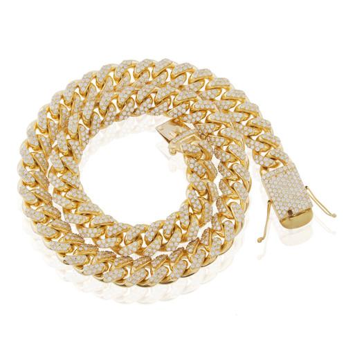 10k Yellow Gold 83ct Diamond 20mm Cuban Link Chain 32in - Shyne Jewelers 3786005b1c38