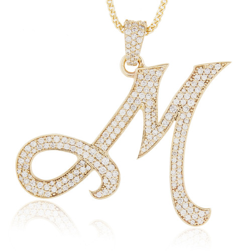 2fcf44a7ec6d35 10k Yellow Gold Diamond Initial Pendant