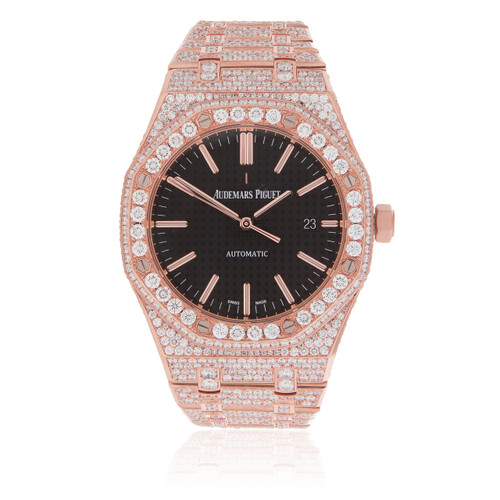 3212003068ae Audemars Piguet Royal Oak 18k Rose Gold 21.5ct Diamond Watch