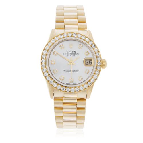 Rolex Lady,DateJust 18K Yellow Gold President 2.5ct Diamond Bezel Automatic  Women\u0027s Watch
