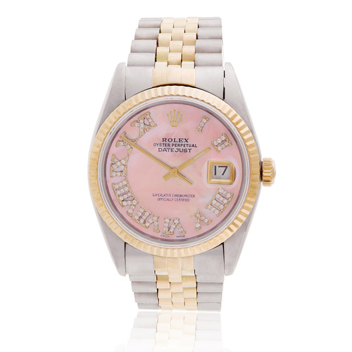 153b7faa99c Rolex DateJust 36 Two-Tone Pink Mother of Pearl Automatic Men s Watch  116231 Front Bezel