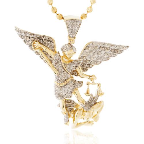 14k Yellow Gold 1 26ct Diamond Archangel Michael Pendant Shyne