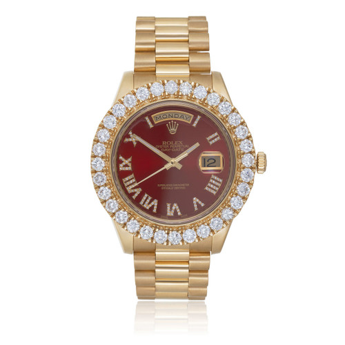 Rolex Day Date Ii President 6ct Diamond Bezel Automatic Watch