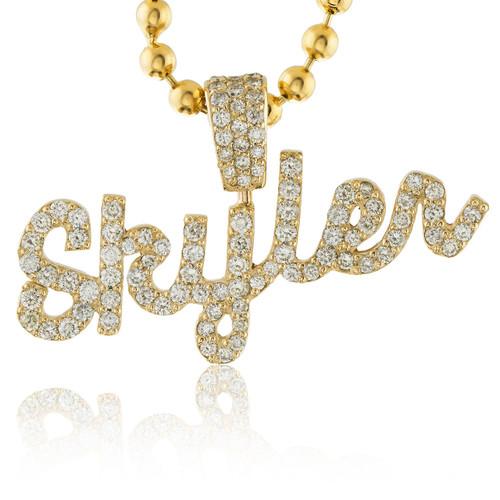 14k Yellow Gold Custom Diamond  Skyler  Name Pendant - Shyne Jewelers 4c1de8737