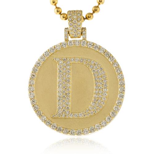 10k Yellow Gold Custom Diamond 'D' Circle Pendant