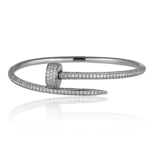 1c69f28d0df 18k White Gold 2.5ct Diamond Nail Bracelet - Shyne Jewelers