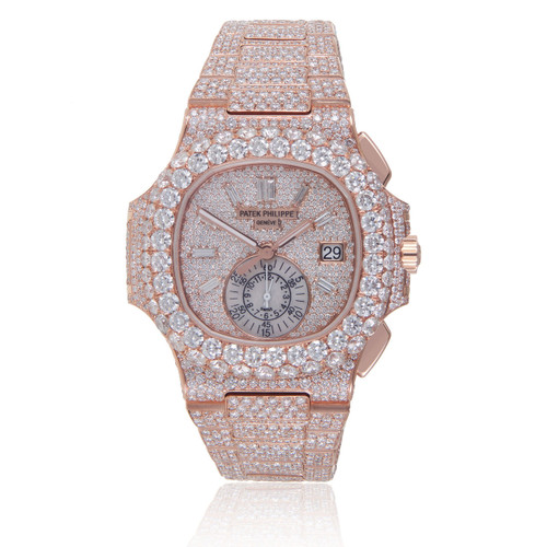Jewelers Patek Diamond Watch Philippe Gold 5980 Men's Shyne - Nautilus Rose Custom