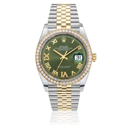3dc729d2a73 Rolex DateJust 36mm Two Tone Jubilee Green Dial Front 126283RBR