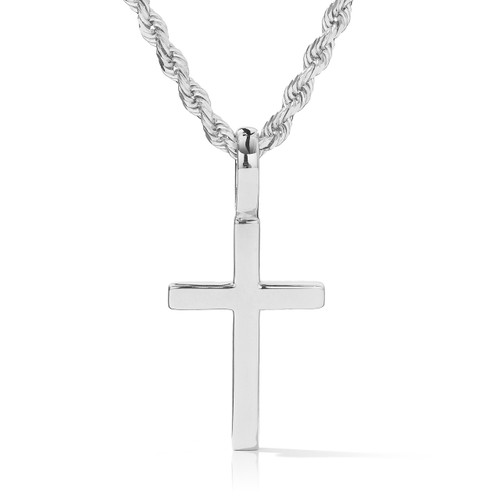 5449a4529 14k Solid White Gold Cross Pendant