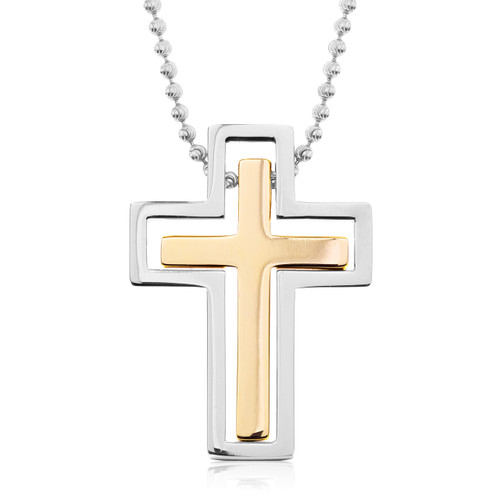 10k Two Tone Gold Cross Rose Gold and Yellow Gold Two Tone Cross